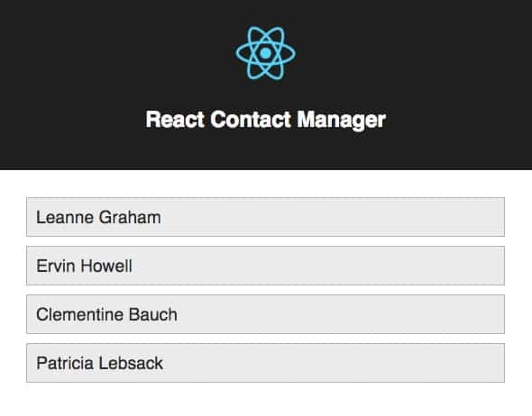 A list of names rendered with a React list component